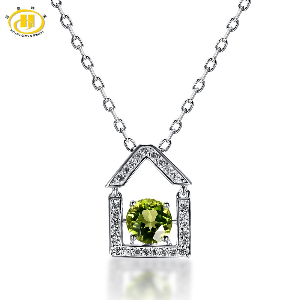 Hutang Round 7mm Natural Peridot Swing House Pendant Solid 925 Sterling Silver Necklace Gemstone Fine Jewelry Birthd Gift