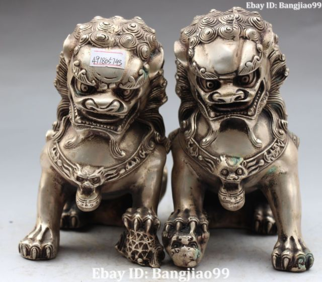 Chinese Silver Foo Fu Dog Guardion Door Lion Leo Ball Kid Animal Pair Statue Collectible Old Handwork Copper Silver Bronze