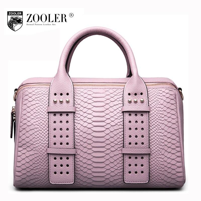 ZOOLER Women genuine leather handbag 2017 new winter ladies cowhide crocodile pattern Boston tote bag female rivet shoulder bags
