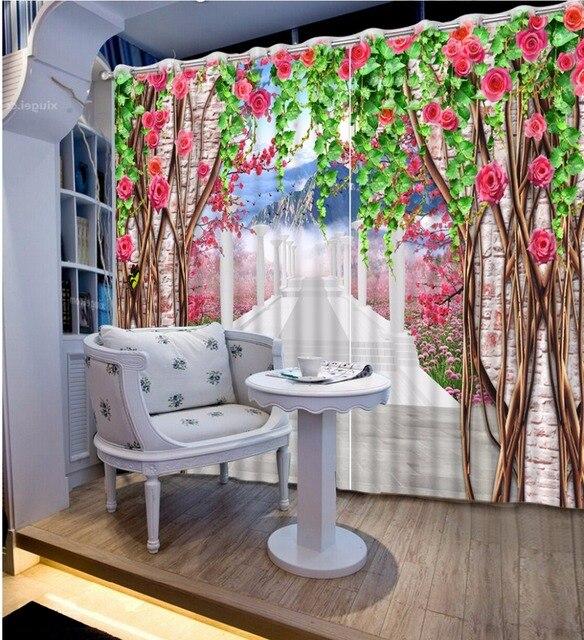 Schone Blackout 3d Vorhange Rose Design Erweitern Die Raum Romische