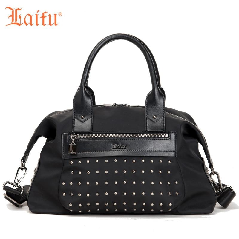 Laifu 2018 New Fashion Women Handbag Female Tote Rivet Crossbody Bag Nylon Waterproof Lightweight Durable