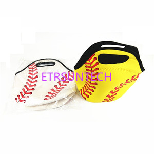 Image 3 - 50pcs/lot Neoprene White Base ball Food Bag Yellow Softball Lunch Tote Bag Cooler Bag Team Accessories Food Carrier