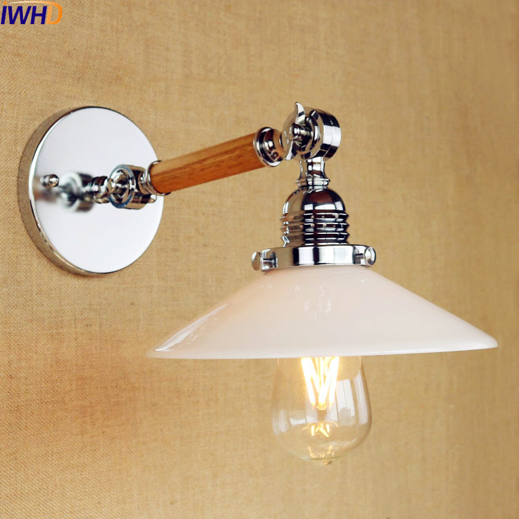 купить IWHD Glass Retro LED Wall Light Fixtures Home Lighting Wooden Arm Wall Light Edison Wandlampen Vintage Sconce Apliques Pared по цене 3588.91 рублей