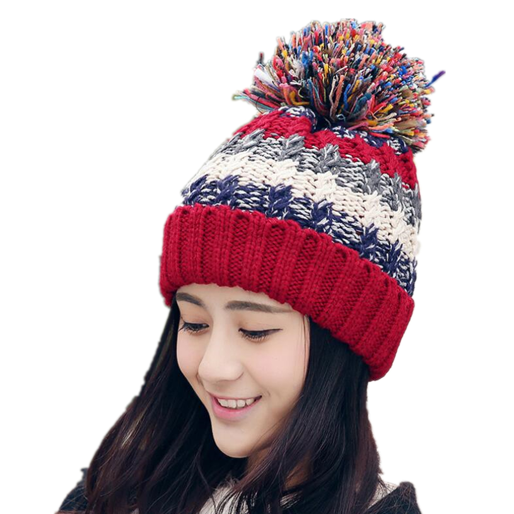 2017 Skullies & Beanies Beanies Knit Hat Female Cap Winter Hat For Women Beanie Headgear Warm pom pom hat winter hats for women skullies