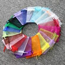 500 ピースオーガンザ巾着袋 5 × 7 7 × 9 9 × 12 10 × 15 センチクリスマス/ 結婚式/BirthdayJewelry/ギフト包装巾着バッグ送料無料