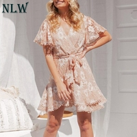 NLW Elegant Embroidery Lace Short Dress Women White Casual Vintage Dress V Neck Bow Sashes Ruffles Sexy Party Dress Vestidos