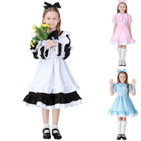 4 12Y Cute Princess Alice Maid Costume For Kid Girls Lolita French Sweet Apron Dress Fancy Birthday Outfit Baby Child Halloween