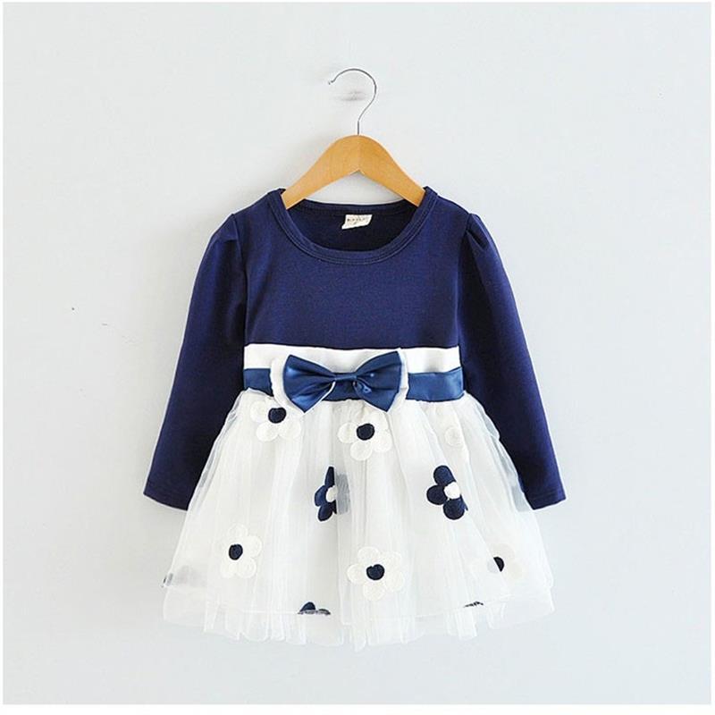 2018 Winter Spring Kids Dresses for Girls Cotton Flower Baby Dress Clothes 1 year Newborn Girl Clothing vestido infantil bebes