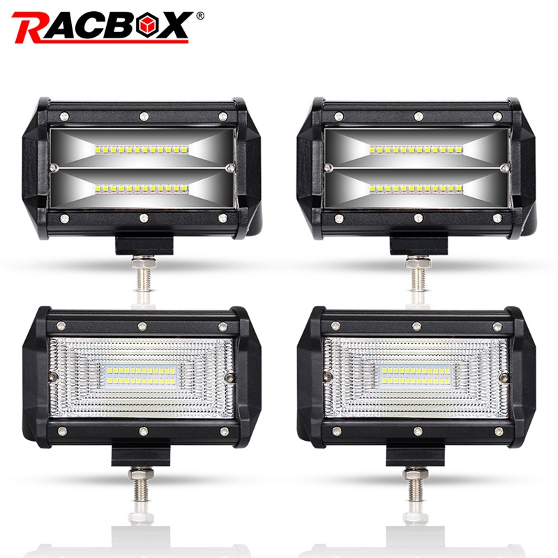 RACBOX Pair 5 inch 72W LED Work Light Bar Flood Wide Spot Beam 12V 24V Off Road Truck ATV SUV Boating 4X4 Driving 5 LED Bar 52inch 300w led light bar for off road indicators work driving car truck 4x4 suv atv fog spot flood beam 12v 24v led headlight