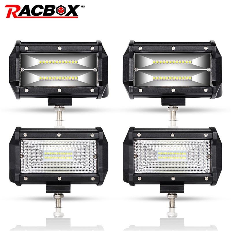 RACBOX Pair 5 Inch 72W LED Work Light Bar Flood Wide Spot Beam 12V 24V Off Road Truck ATV SUV Boating 4X4 Driving 5