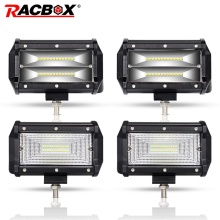 цена на RACBOX Pair 5 inch 72W LED Work Light Bar Flood Wide Spot Beam 12V 24V Off Road Truck ATV SUV Boating 4X4 Driving 5