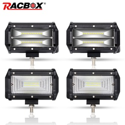 RACBOX Pair 5 inch 72W LED Work Light Bar Flood Wide Spot Beam 12V 24V Off Road Truck ATV SUV Boating 4X4 Driving 5