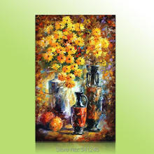 Hand-painted big size modern wall art decor living room Yellow flower vase fruits Palette knife landscape oil painting on canvas