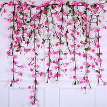 2 sztuk sztuczne Magnolia kwiat winorośli ściana kwiatów wiszące Magnolia 185cm pianki sztuczne kwiaty sztuczne kwiaty dekoracji tanie tanio 180cm Piwonia Pianka Ślub jiumengya Kwiat Oddział brand new fabric foam China (Mainland) wall mounted flower