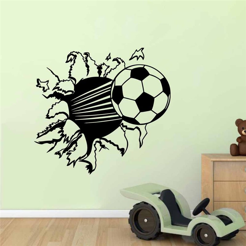 football broken wall stickers fans kids bedroom decoration 8486. diy vinyl sports adesivo de paredes home decals 3d mual art 3.5
