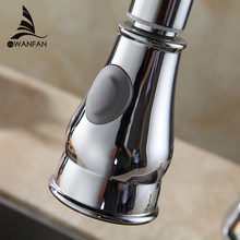 Kitchen Faucet Accessories ABS Brushed Nickel Chrome Silver Sink Kitchen Pull Down Faucet Dual Spray Spout Shower Head WF-2001