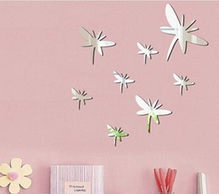 Dragonfly mirror wall sticker, 3D wall mirror sticker , acrylic mirror decorative sticker , 8pcs per lot