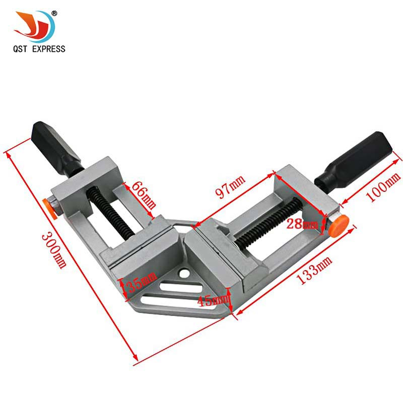 QSTEXPRESS Double handle 90 Degrees Angle Clamp Right Angle Woodworking Frame Clamp Angle clip clamp aluminum alloy frame type angle vise 90 angle great diy home handle tool 100% aluminum alloy corner clamp workbench