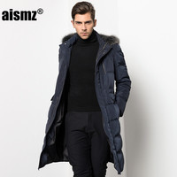 Aismz 2018 New Long Winter Down Jacket With Fur Hood Men's Clothing Casual Jackets Thickening Parkas Male Big Coat Y8901