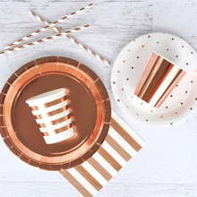 AVEBIEN 44pcs/lot High-end European New Party Hot Rose Gold Disposable Tableware Cake Plate Baby Shower Birthday Supplies