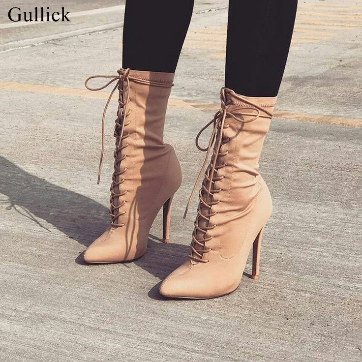 Gullick Beige Cross Strap Short Boots Women Sexy Pointy Stiletto Heel Lace Up Ankle Boots Concise Design Fashion Dress Shoes sexy stereoscopic rose backless cross short sleeve dress for women