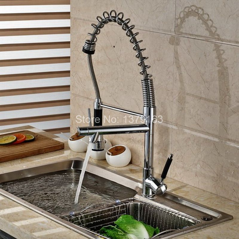 Polished Chrome Commercial & Home Pull Out Spray Swivel Spout Single Hole Kitchen Sink Mixer Tap / Faucet asf078 new pull out swivel chrome brass kitchen faucet spout vessel basin sink single handle deck mounted mixer tap mf 446