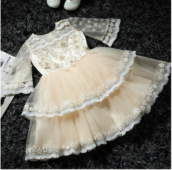 Girl's Formal Dress 2018 Flower Girls Wedding Dresses Cute Kids Gauze Tiered Lace Party Ball Gown Children's Prom Dress 3-13Y girl s formal dress 2018 flower girls wedding dresses cute kids gauze lace party ball gown children s long prom dress pink 3 13y