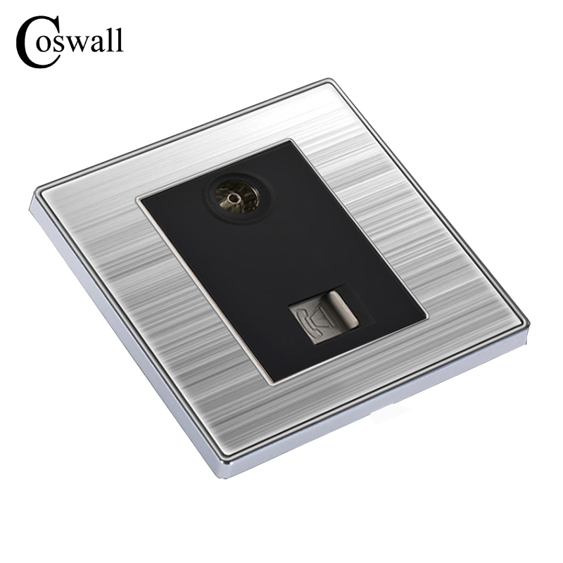 COSWALL Luxury Wall Telephone Socket With TV Outlet Enchufe Stainless Steel Brushed Silver Panel Fone Plug Soquete