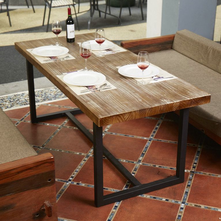 American Country Wood Dining Table Combination Of Nordic