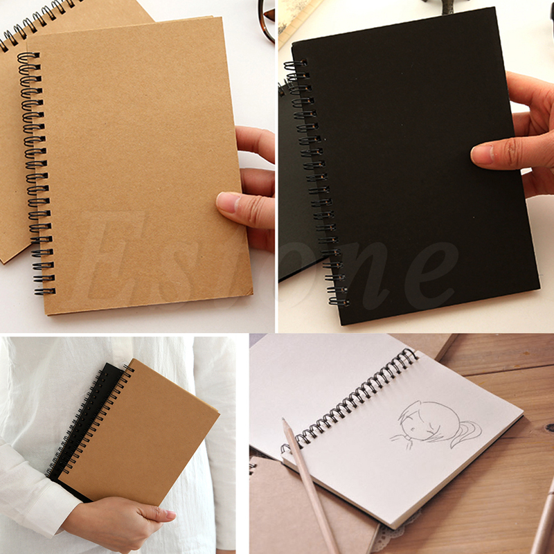 Retro Spiral Coil Notebook Sketchbook Diary Journal Student Note Pad Book Memo in Notebooks from Office School Supplies