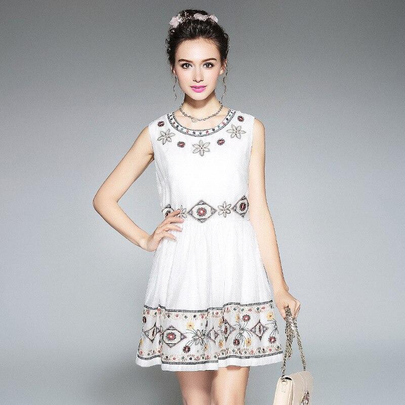 Лето Вышивка Платье Без Рукавов Женщин Плюс Размер Встроенная Стильный Линия Мини Платья Л до 4xl 5xl