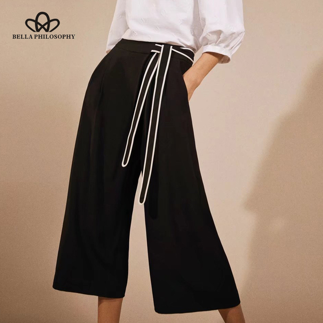 1c7516e9e277 Bella Philosophie 2018 Printemps Femmes Veau Longueur Pantalon Vintage Bow  Glissière Lâche Jambes Larges Pantalons Vrac