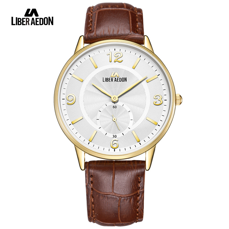 LiberAedon Gold Top Brand Luxury 2017 Sport Men Watches Waterproof Leather Band Quartz Mens Wristwatch Military Male Clock Watch top brand sport men wristwatch male geneva watch luxury silicone watchband military watches mens quartz watch hours clock montre