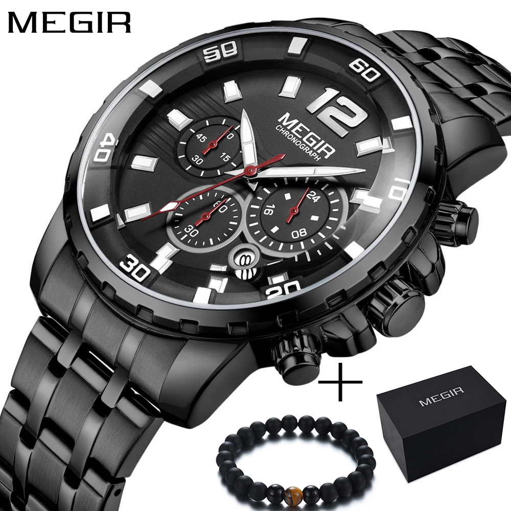 <font><b>Megir</b></font> New Business Watch Luxurymen Big Dila Chronograph Quartz Sport Watch Men Steel Men's Wrist Watches Mens Militray Clock Man image