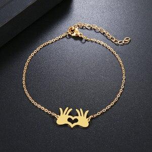 Женский браслет DOTIFI, браслет из нержавеющей стали золотистого и серебристого цвета с пальмовым сердечком