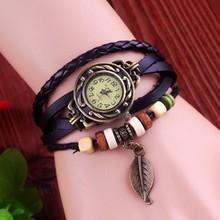 High Quality Genuine Leather Vintage Watch Women bracelet Wrist Watch D7553
