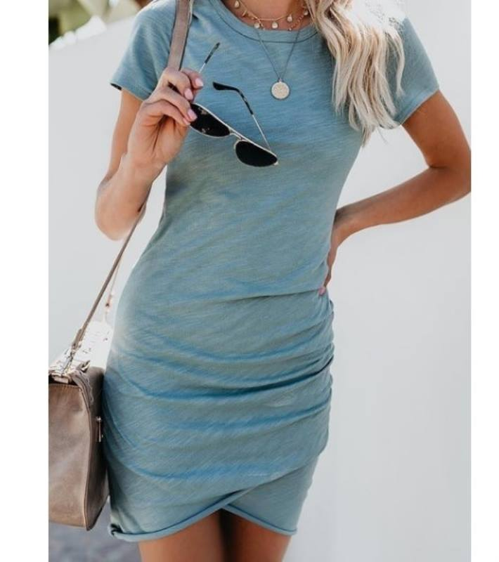 Women Summer Dresses Round Neck Mid Sleeve Tights Stretch Bag Hip Irregular Mini Slim Solid Dress