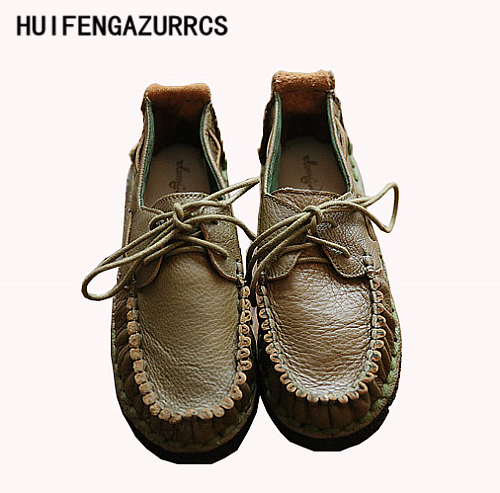 HUIFENGAZURRCS 2019 หัวชั้น cowhide ทำด้วยมือรองเท้า retro mori สาวรองเท้า, รองเท้าสตรีรองเท้า-ใน รองเท้าส้นเตี้ยสตรี จาก รองเท้า บน   1