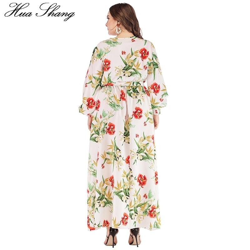 Boho Dress Plus Size Women Summer V Neck Lantern Sleeve Floral Print Bohemian Maxi Long Dress Belted Ladies Tunic Beach Dresses