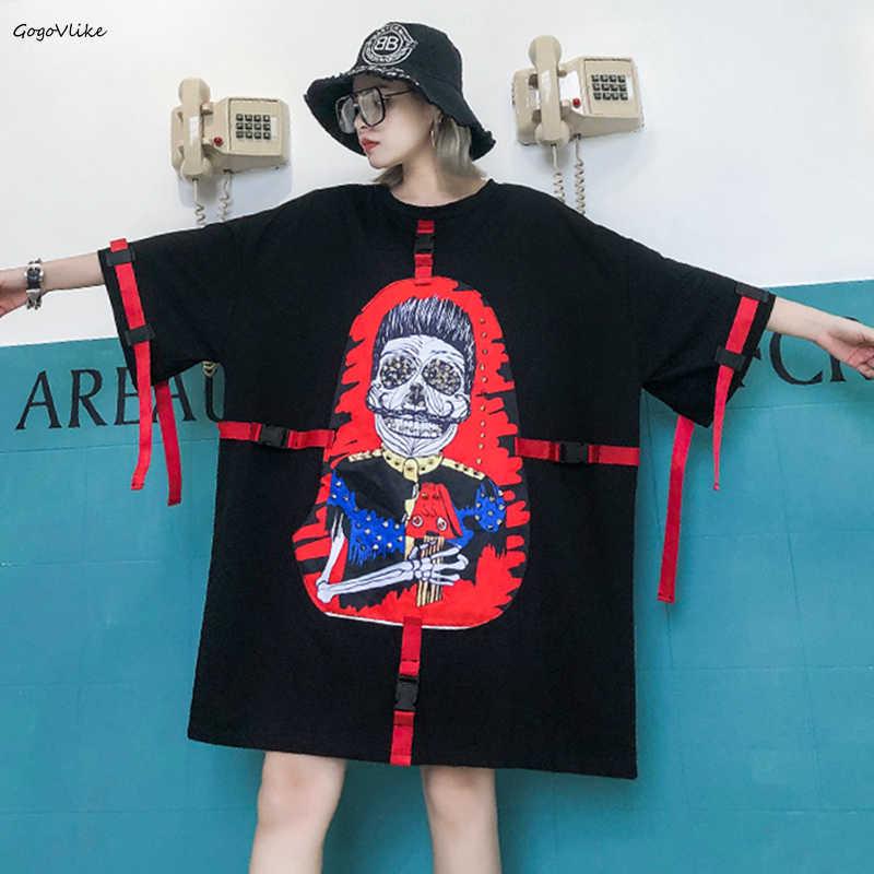 Punk Rock robe de crâne avec boucle 2019 printemps été femmes Cartoon grande taille robes de chemise sangles femmes vêtements LT295S50