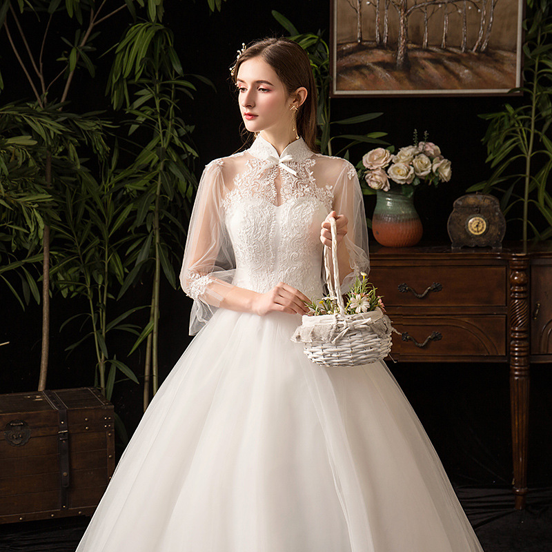 Image 5 - 2019 New High Neck Three Quarter Sleeve Wedding Dress Sexy Illusion Lace Applique Plus Size Vintage Bridal Gown Robe De Mariee L-in Wedding Dresses from Weddings & Events