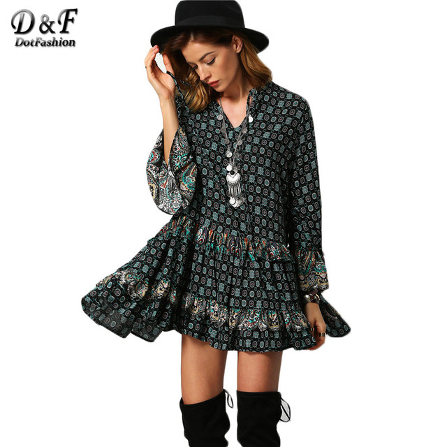 Dotfashion Verde Oscuro Estilo Boho Tribal Imprimir Vestidos de Las Mujeres de La Vendimia calle v cuello largo flare manga ruffle loose mini dress