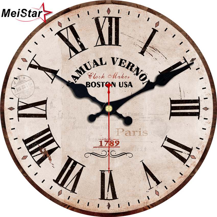 MEISTAR 3 Patterns Vintage Round Clock Brief Antique
