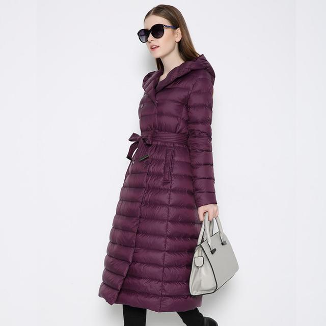 2016 inverno novas mulheres jaqueta seção fina cinto alongou joelho-comprimento capuz Magro jaqueta de pato para baixo casaco quente código XXXL