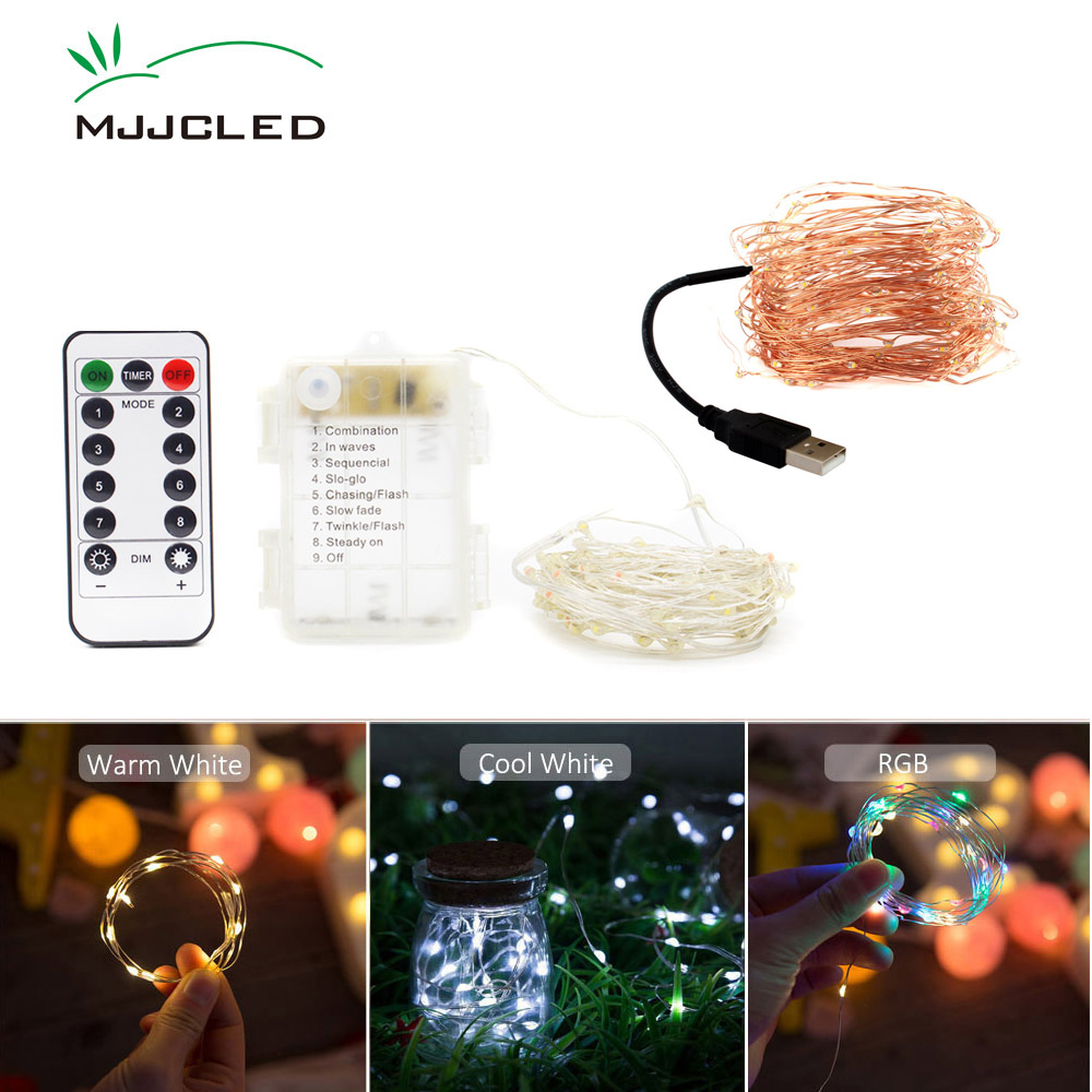 Christmas Lights Outdoor Decoration LED Fairy Lights Battery Operated 2M 5M 10M String Copper Lamp USB LED String Timer Remote