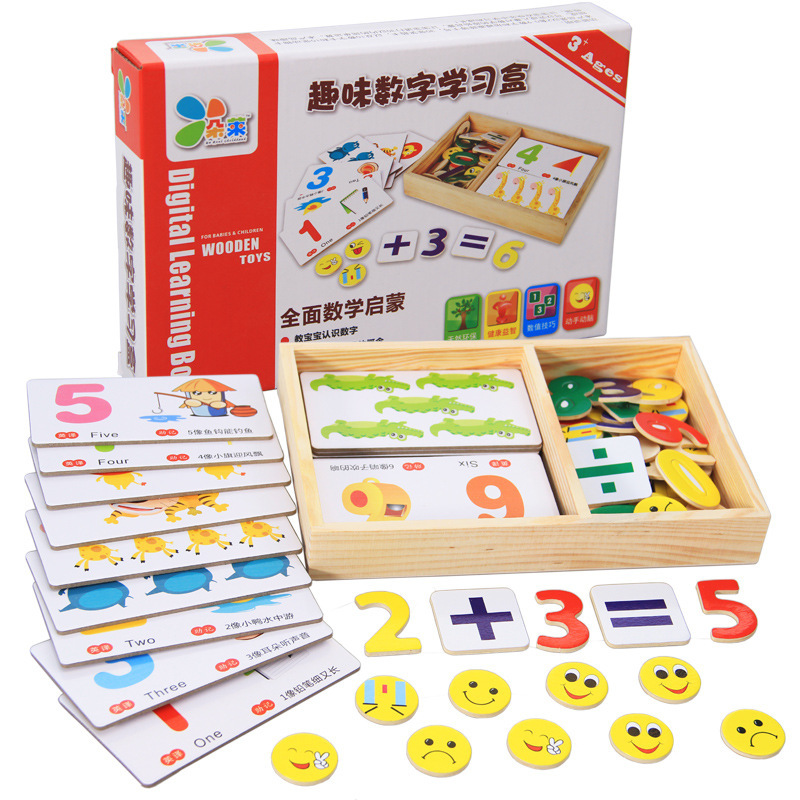 3+Years Baby Wooden Math Toy Kids Calculate Number <font><b>Puzzle</b></font> Learning Box W/ Animal Cardboard&<font><b>Face</b></font> patterns for Preschool Education