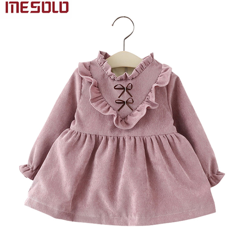 New 2017 cotton Kids clothes Girls long-sleeved Girls baby dress baby clothing dress vestidos new kids baby girls clothes set heart shaped dress pant
