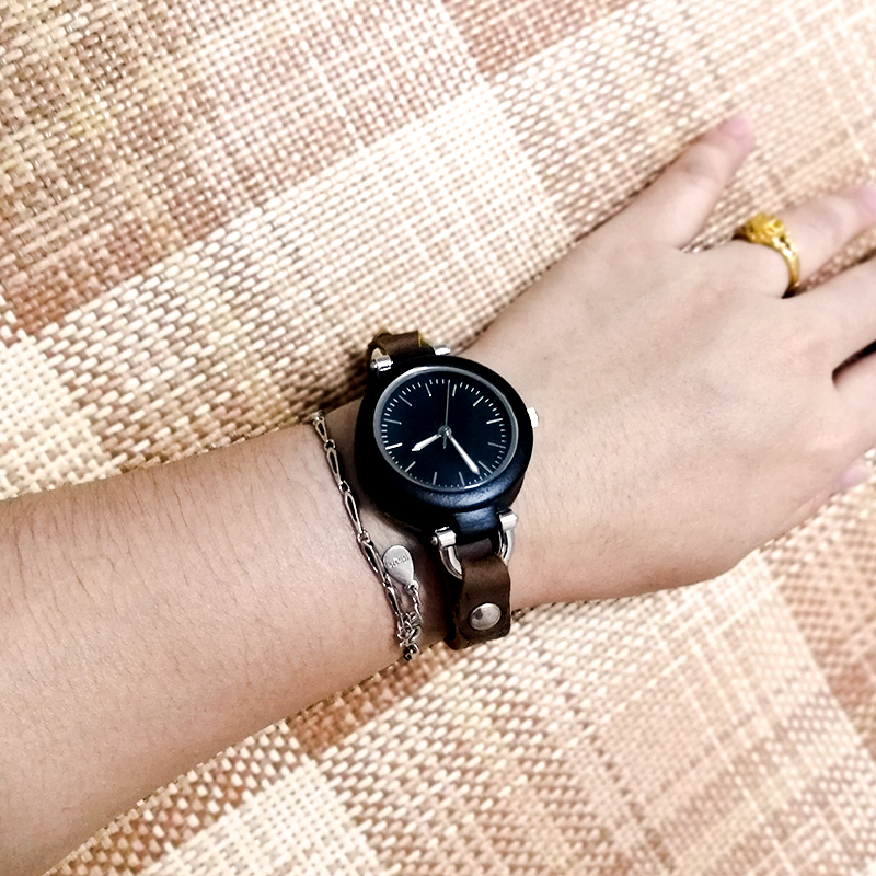 black women-leather-wood-watches lady clock-girl gift