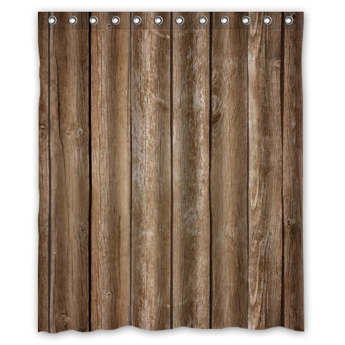 High Quality Mouldproof Bath Curtain Print Vintage Rustic Brown Faux Wood Shower Curtains Waterproof 152x182cm With 12 Hooks In From Home