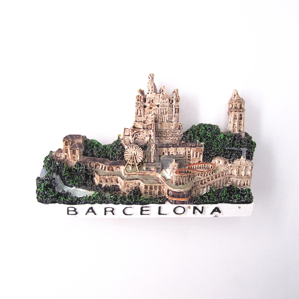Hand Painted Craft 3D Resin Spain Countries Barcelona City Fridge Refrigerator Magnet Sticker Tourist Souvenirs Home Decoration in Fridge Magnets from Home Garden